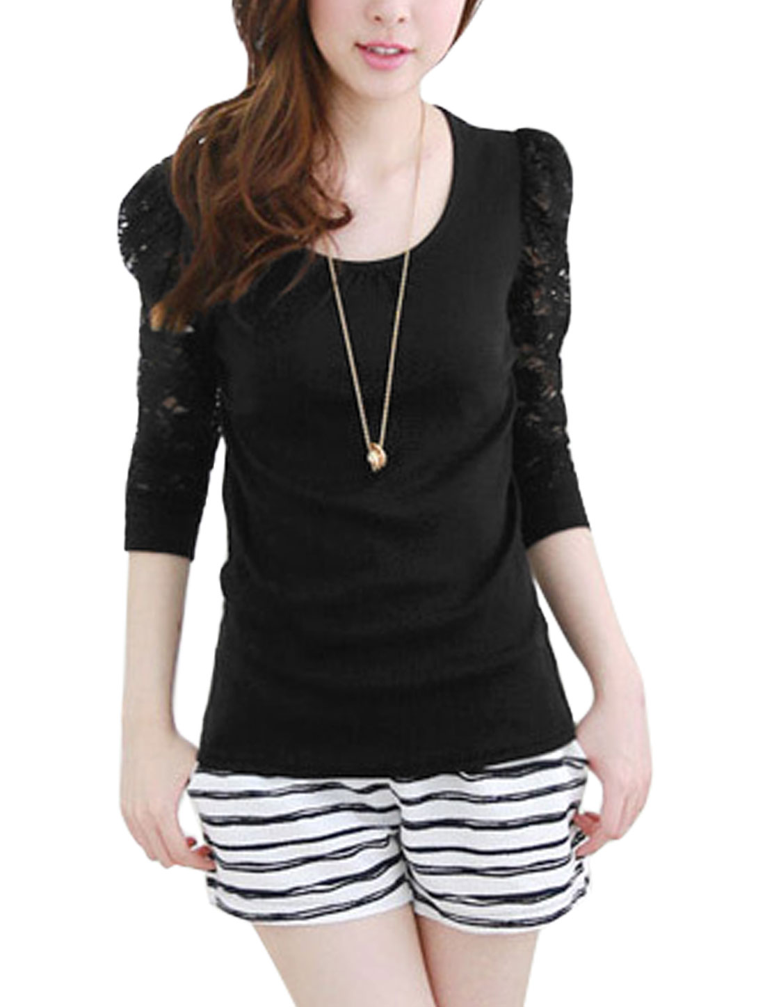 Ladies Black 3/4 Sleeves Round Neck Pullover Lace Splice Shirred Detail Top S