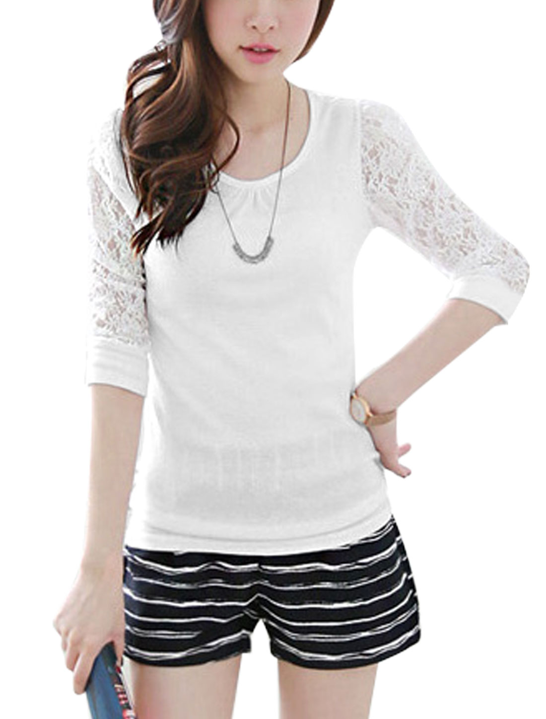 Ladies White 3/4 Sleeves Round Neck Pullover Lace Splice Casual Top S