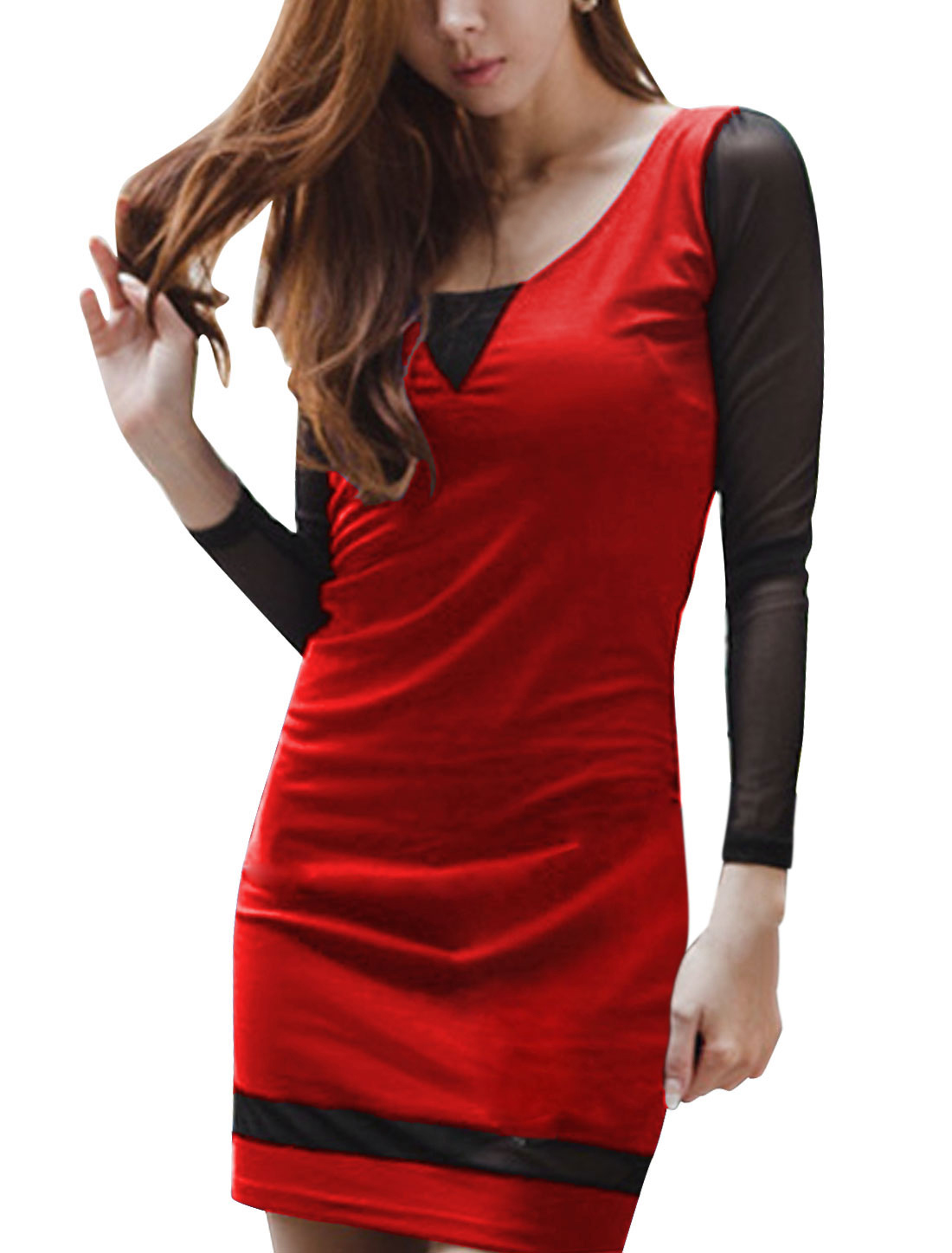 Lady Mesh Panel Long Sleeve Slim Sheath Dress Red XS