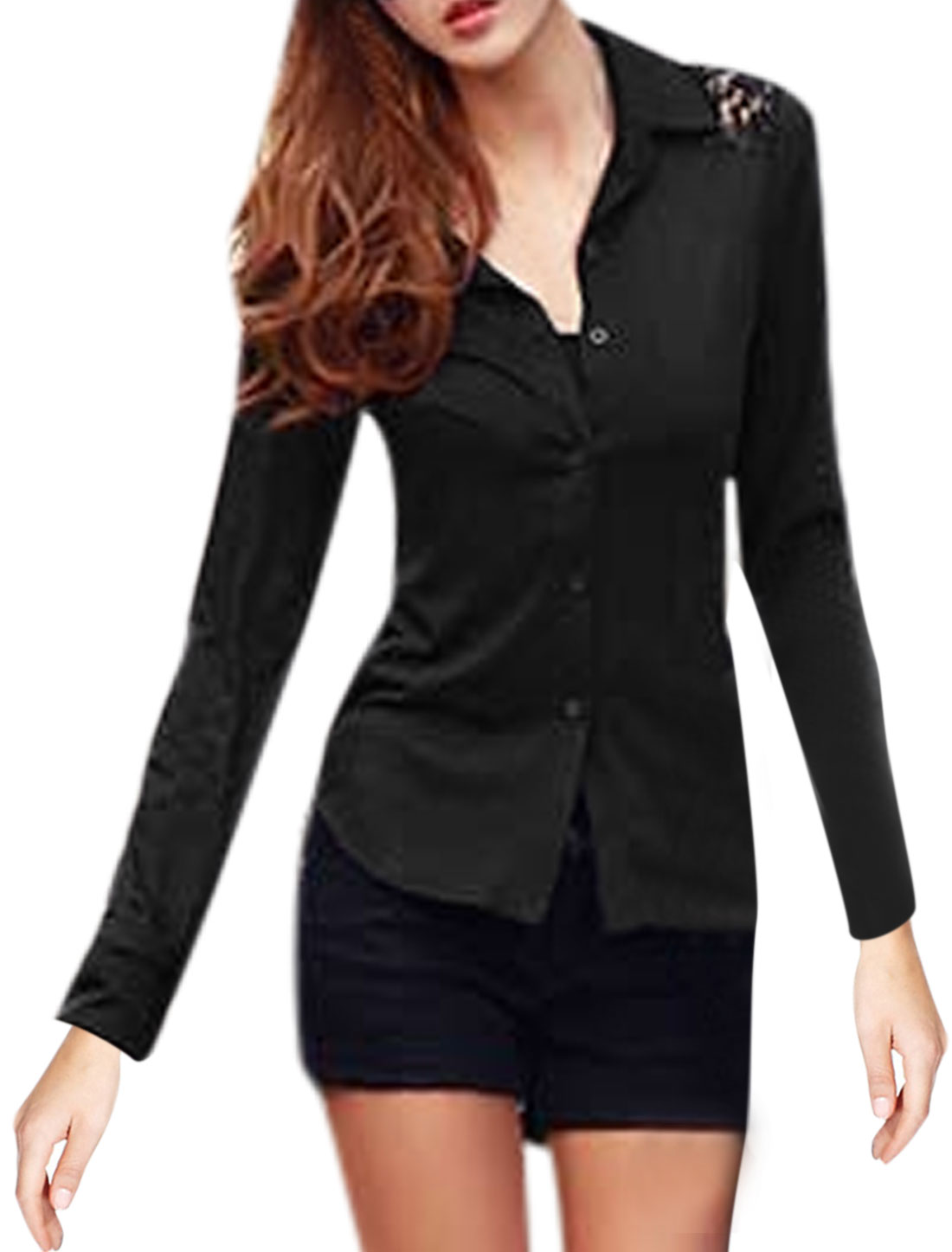 Ladies Black Long Sleeves Point Collar Single Breasted Lace Splice Casual Shirt S