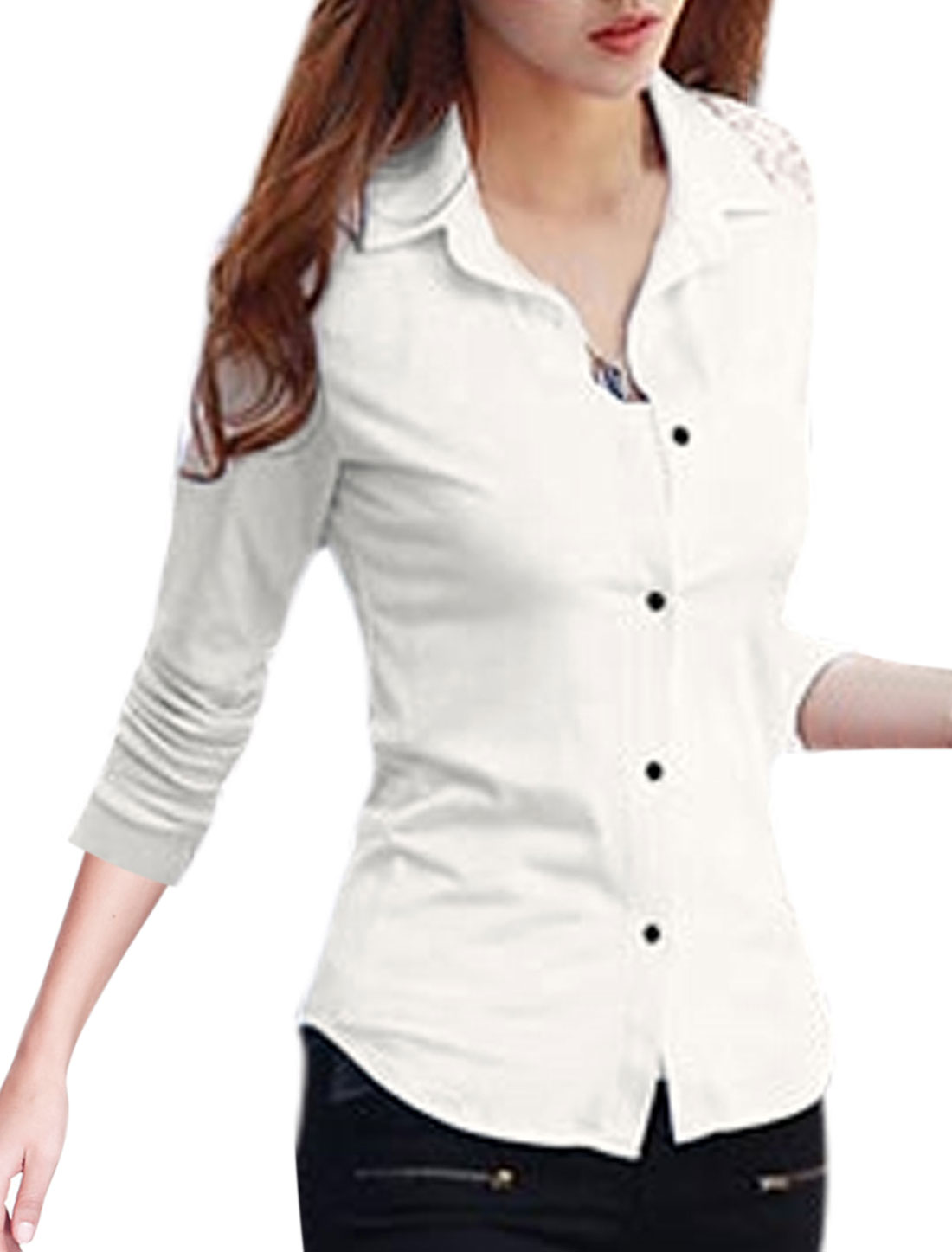 Ladies White Long Sleeves Point Collar Button Closure Lace Splice Shirt S