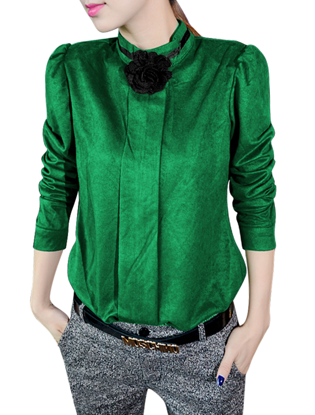Women Stand Collor Long Sleeve Shirt w Detachable Flower Decor Dark Green S