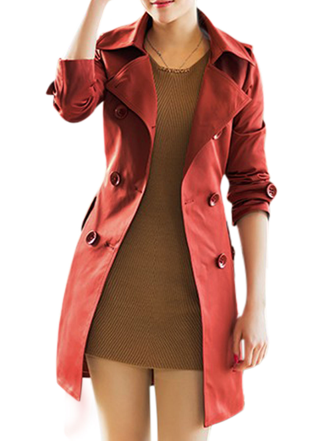 Women Single Breasted Slant Pockets Trench Coat w Waist Strap Burgundy S