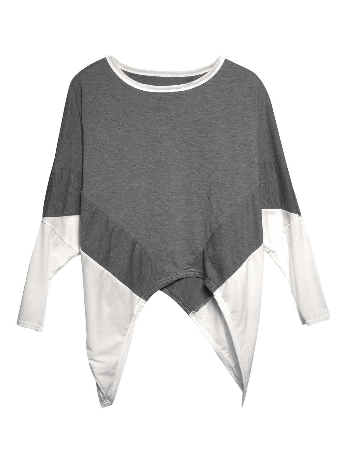 Lady Batwing Sleeve Color Block Fashion Casual Blouse Dark Gray White XS