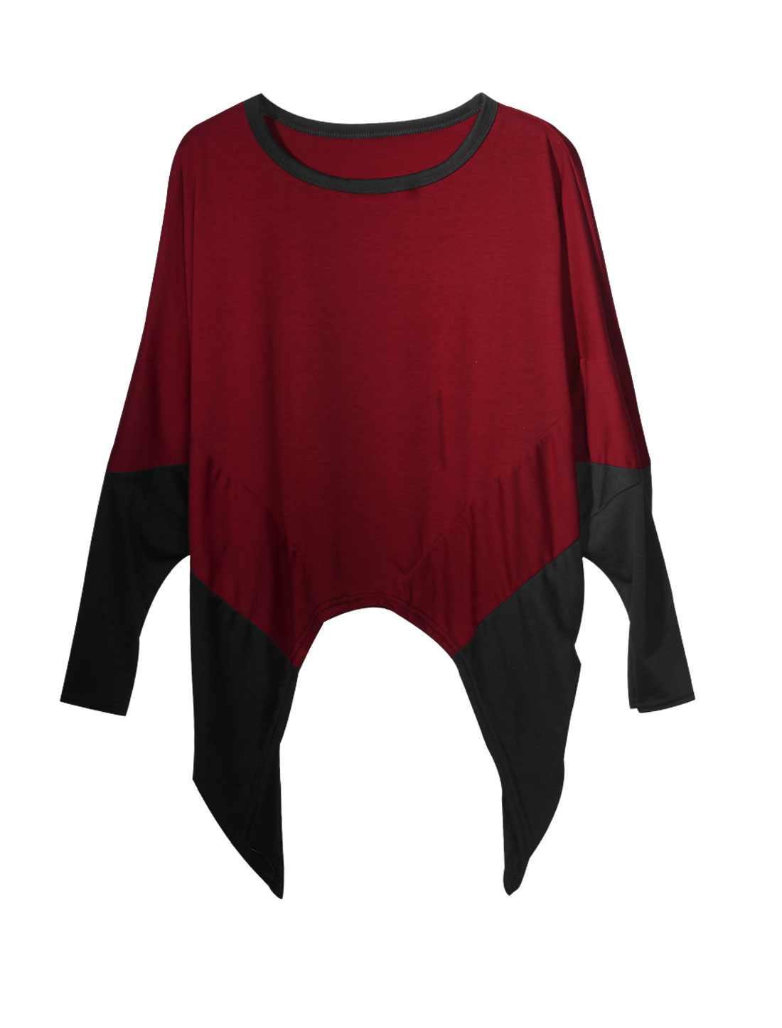 Lady Slipover Color Block Fashionable Leisure Blouse Burgundy Black XS
