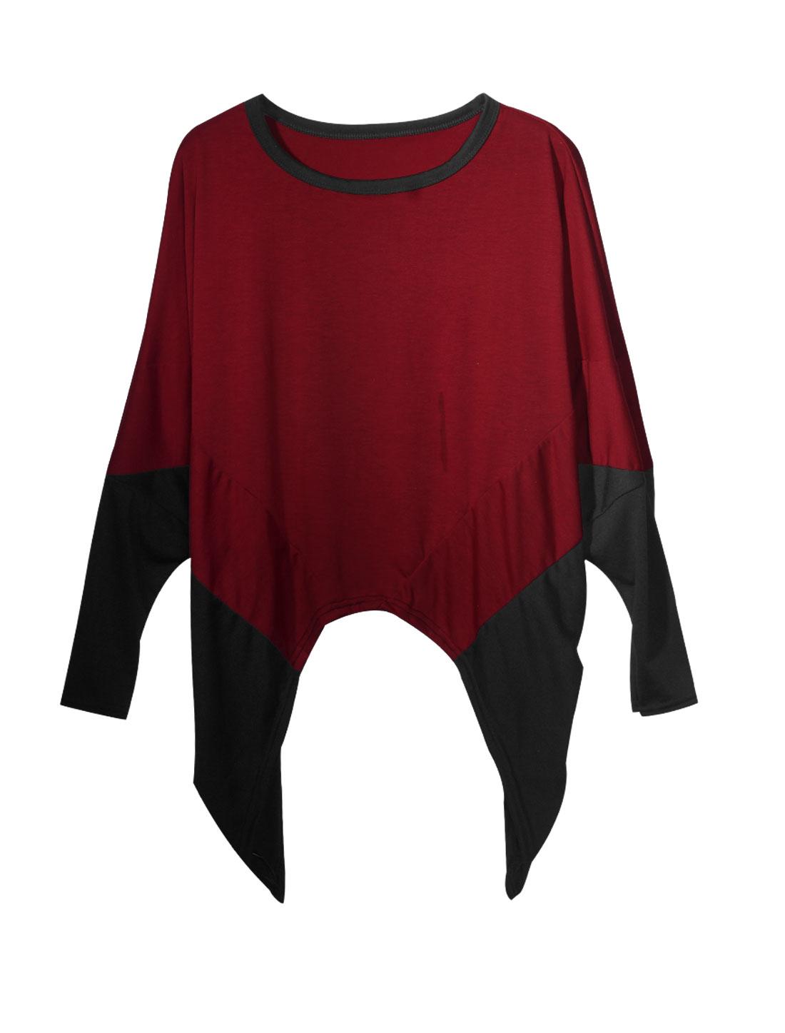 Lady Slipover Color Block Fashionable Leisure Blouse Burgundy Black XS