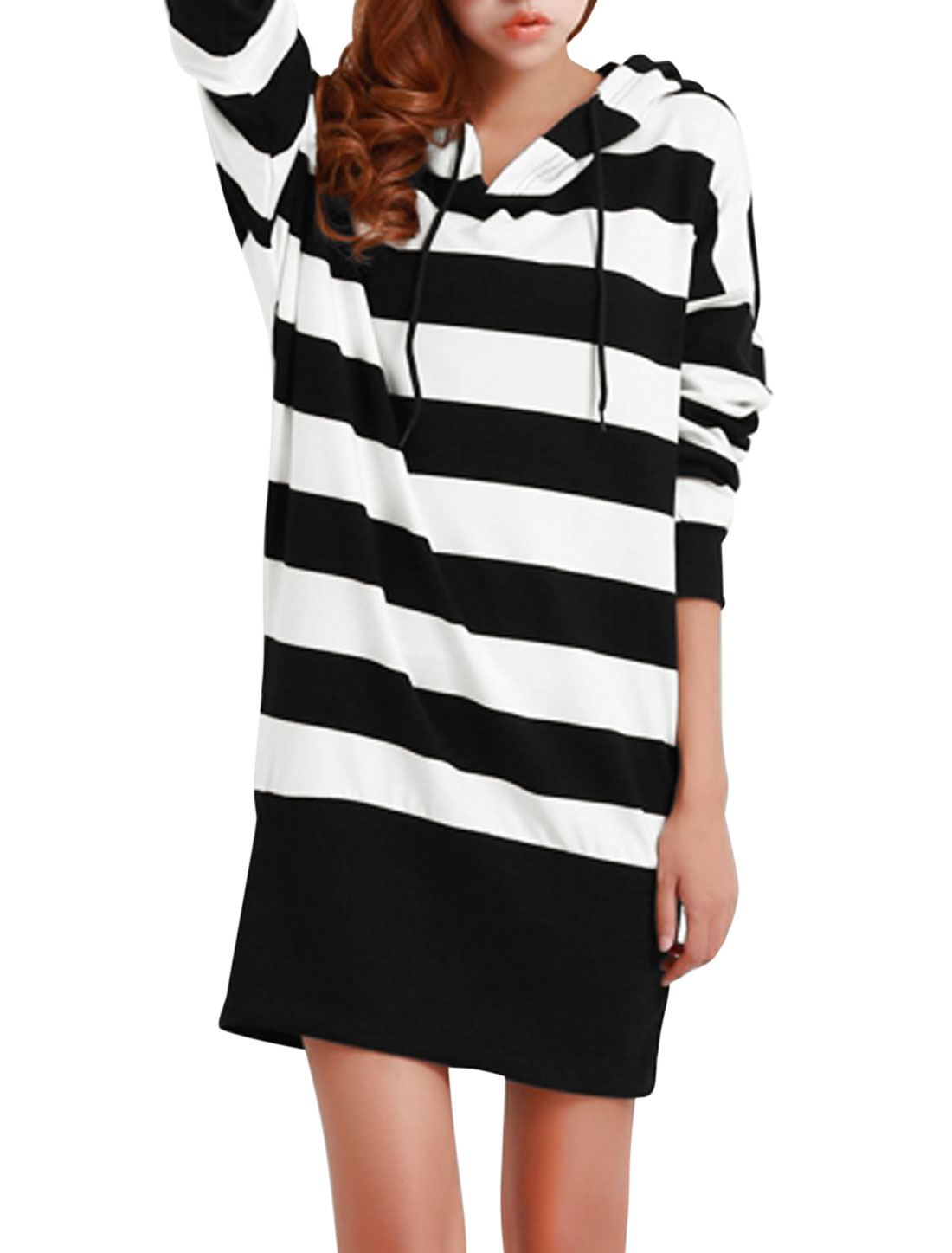 Lady Drawstring Hooded Stripes Pattern Casual Hooded Dress White Black XS