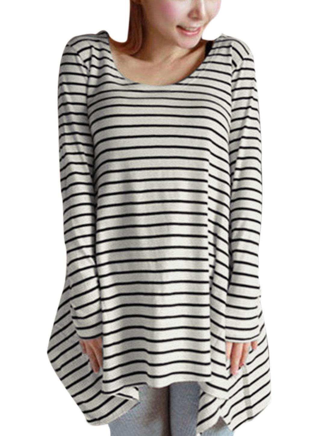Women Round Neck Long Sleeve Irregular Hem Casual Tunic Top Black White XS