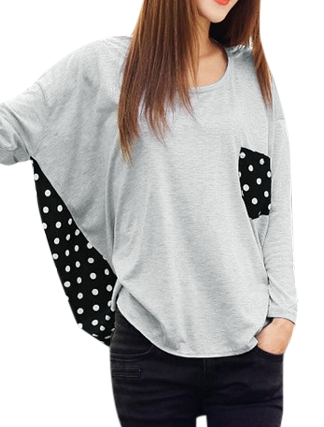 Women Dots Pattern Back Bust Pocket Irregular Hem Top Black Light Gray XS