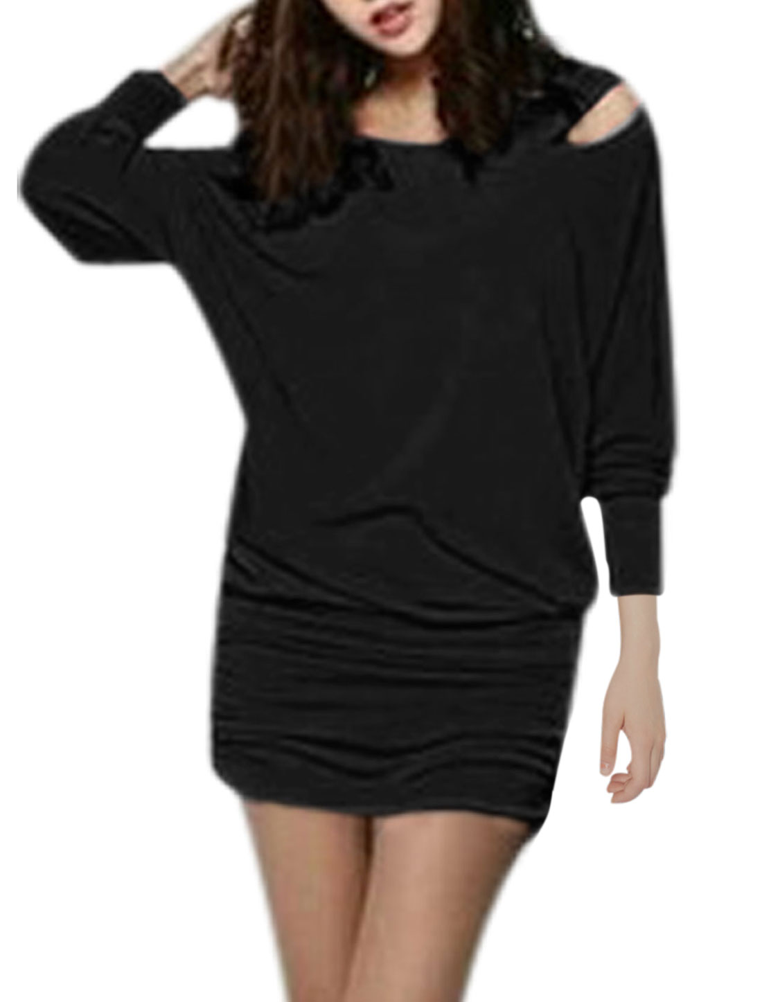 Women Round Neck Batwing Sleeve Shirred Sides Sexy Blouson Dress Black S