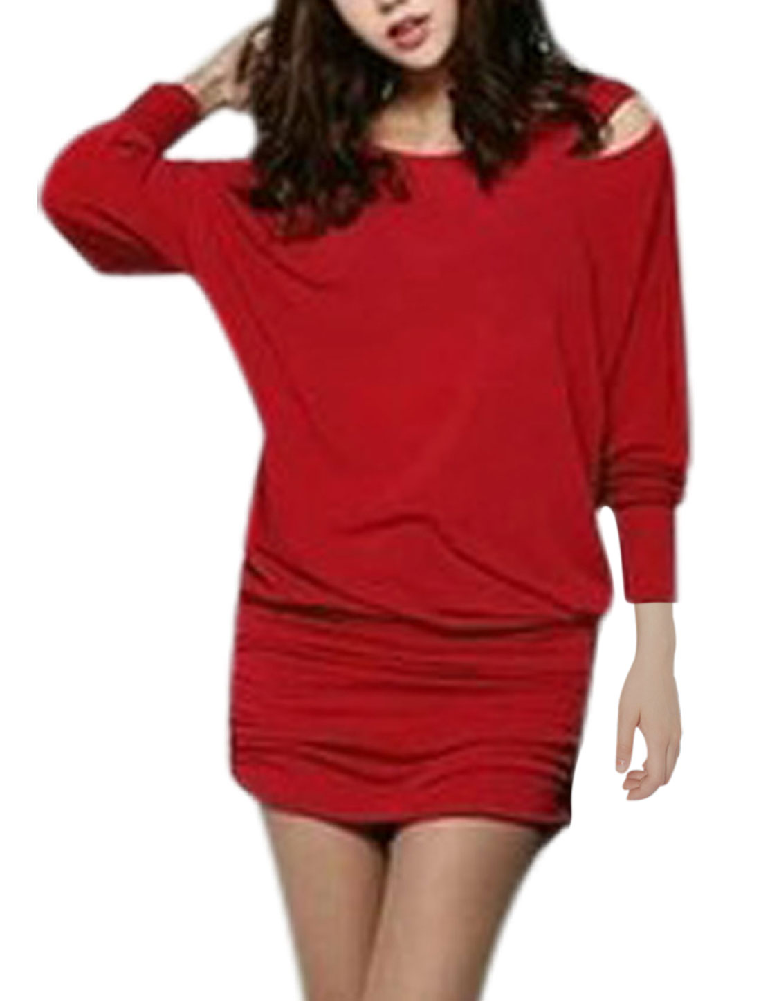 Lady Bat Sleeve Cross Back Cut Out Shoulder Blouson Dress Warm Red S