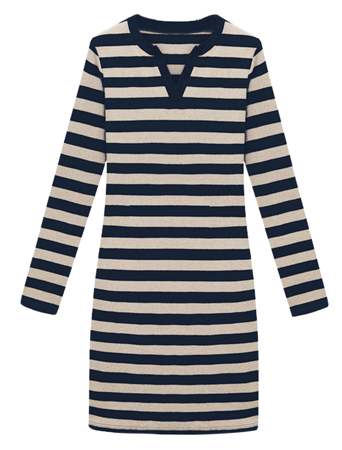 Cozy Fit Pullovr Stripes Pattern Casual Sheath Drss for Lady Navy Blue Beige
