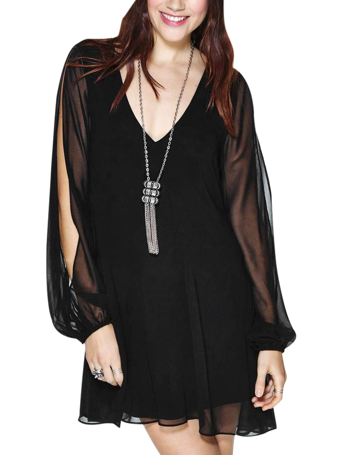 Women Cut Out Sleeve Semi Sheer Lined Split Back Short Dress Black S