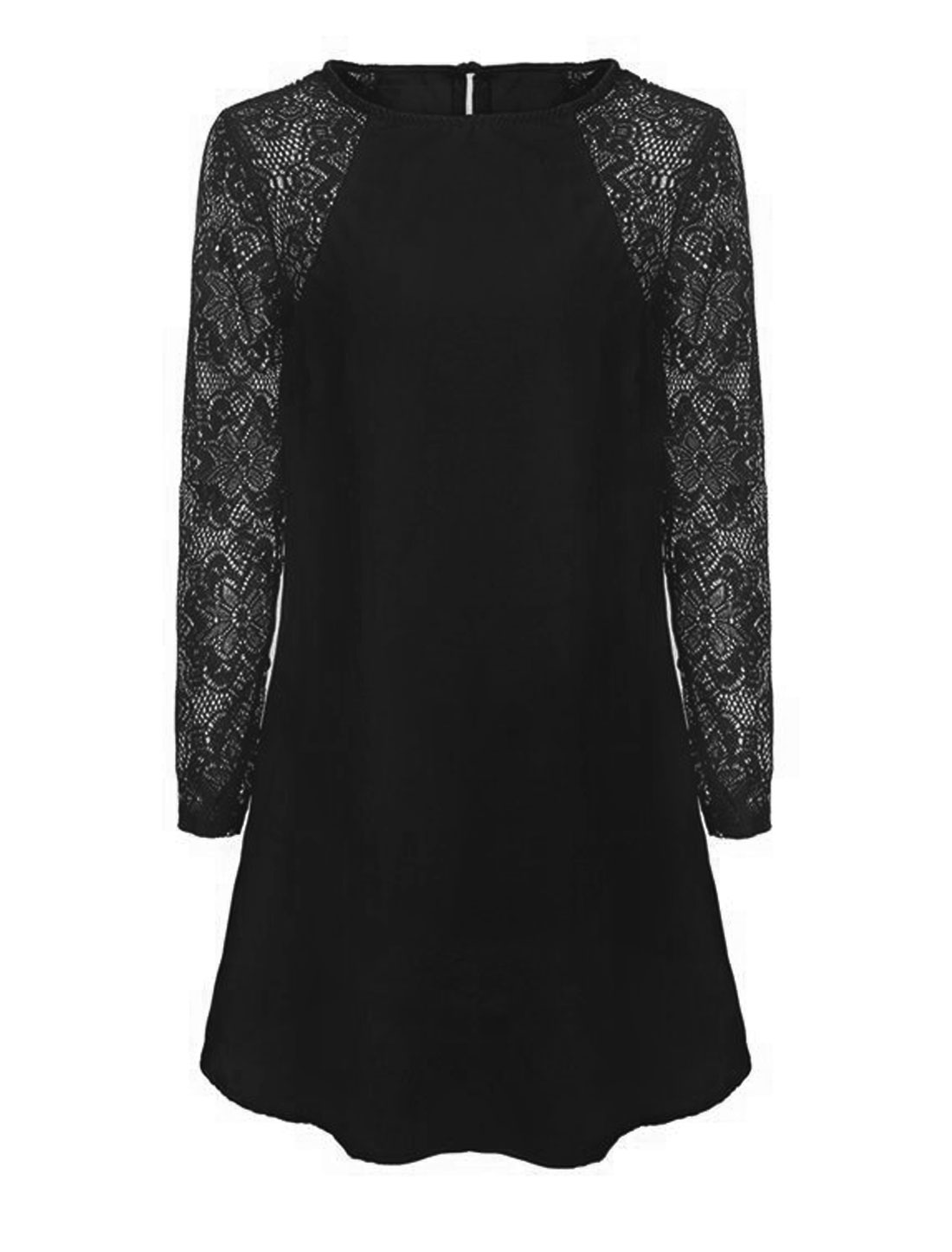 Women Crochet Panel Hollow Out Button Closure Back Short Dress Black M