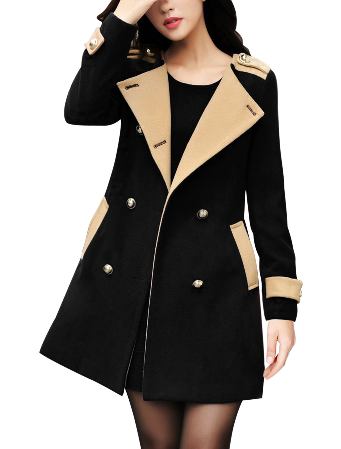 Women Single Breasted Double Slant Pockets Button-Tab Back Peacoat Black M