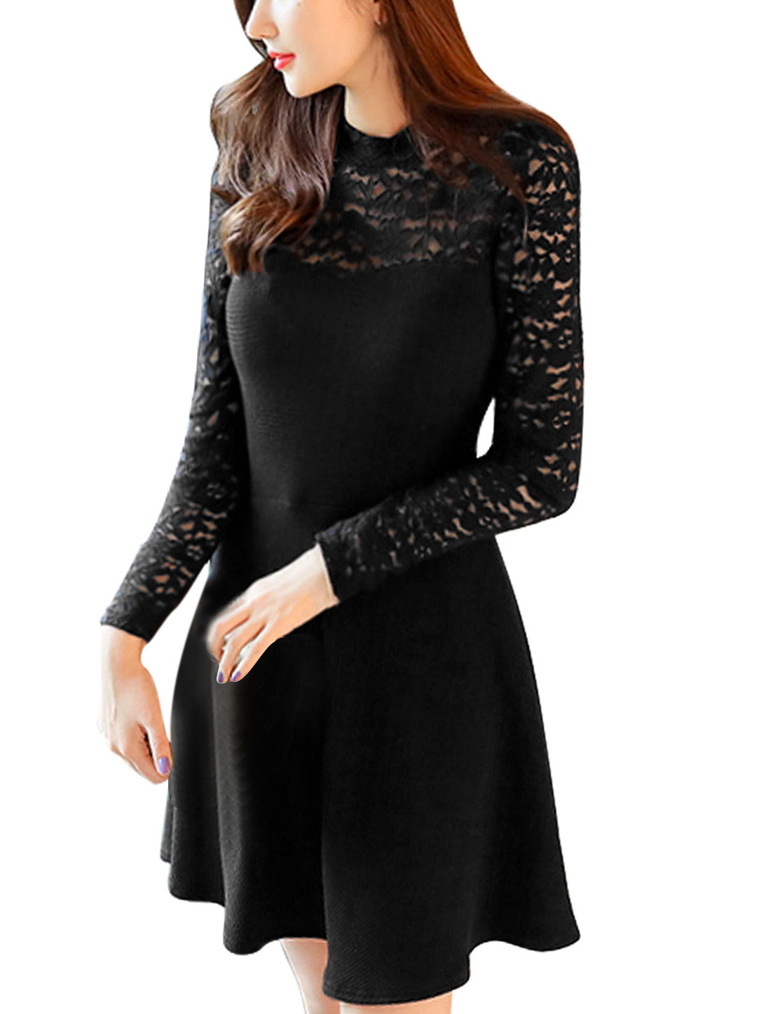 Lady Pullover Lace Panel Slim Fit Casual Dress Black M