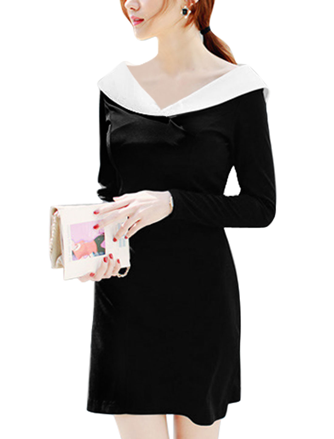 Women Shawl Collar Long Sleeve Slim Fit Sheath Dress Black M