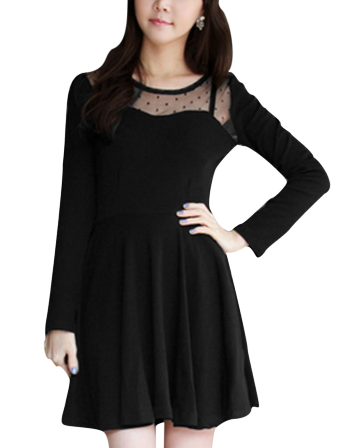 Women Long Sleeve Mesh Panel Dots Design Detail Short Dress Black S