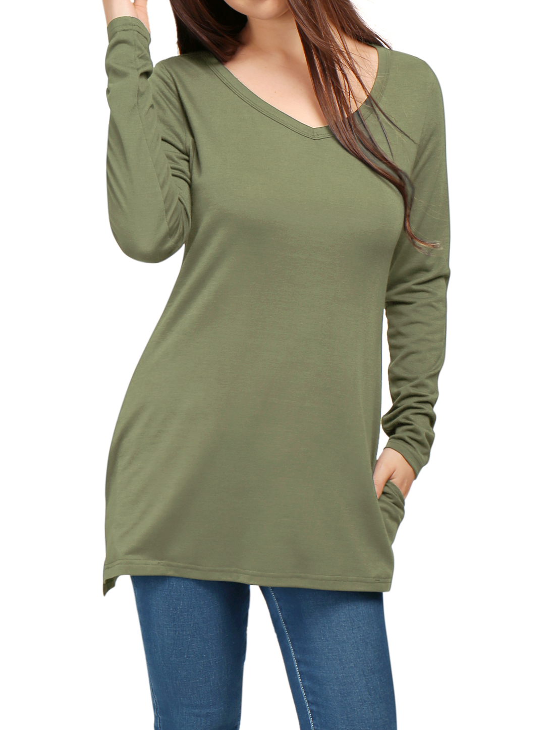 Lady V Neck Split Side Design Fashion Casual Tunic Top Green S