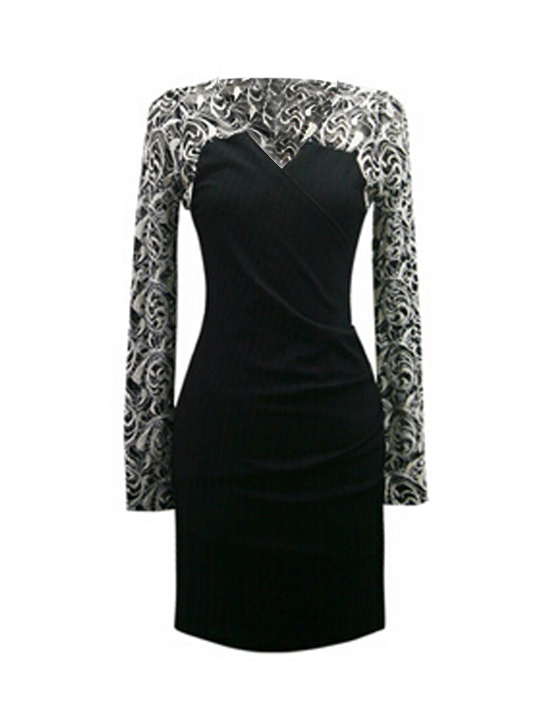 Ladies Black Long Sleeves Crossover V Neck Lace Splice Casual Dress M