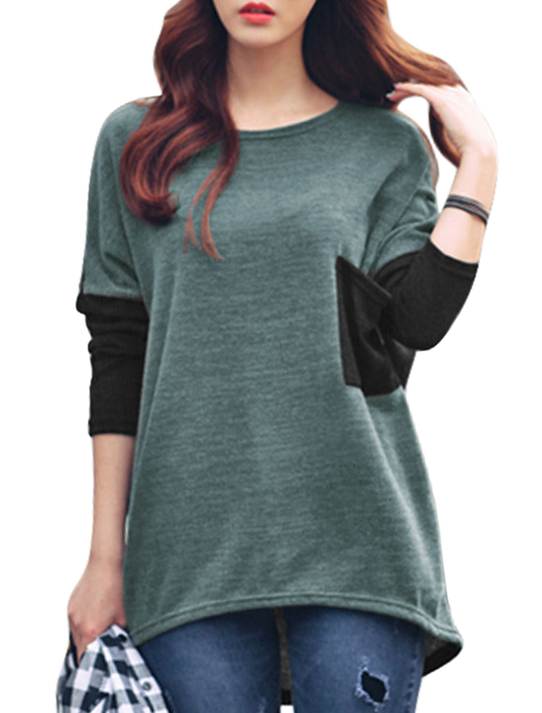 Women Color Block Batwing Sleeve One Bust Pocket Loose Top Black Gray XS