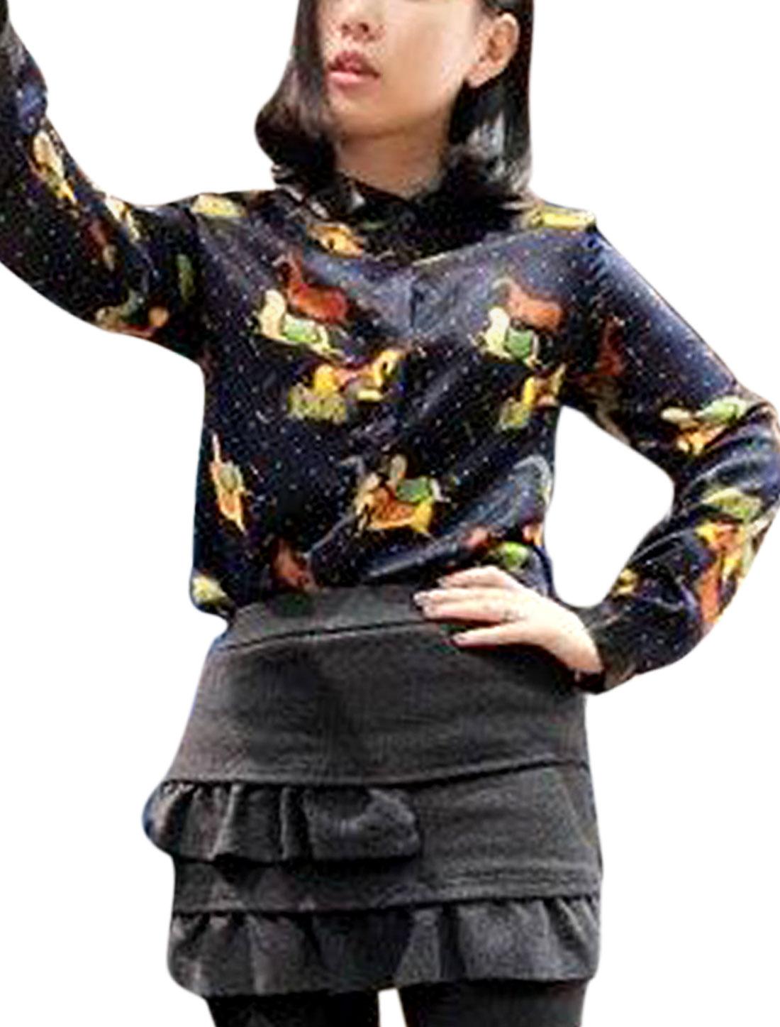 Women Point Collar Long Sleeve Imitation Leather Panel Shirt Navy Blue S