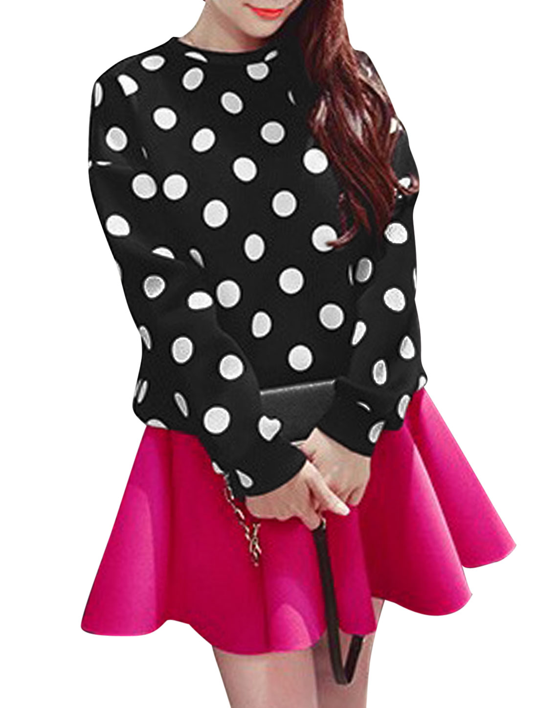 Women Dots Prints Round Neck Long Sleeve Casual Sweatshirt Black XS