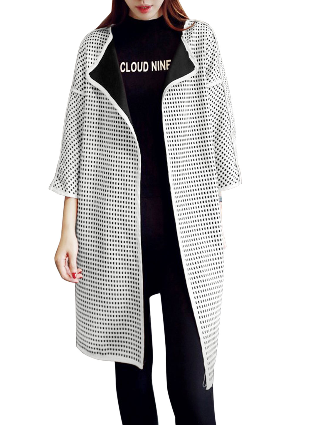 Women 3/4 Sleeve Plaids Pattern Front Opening Tunic Cardigan Black White XS