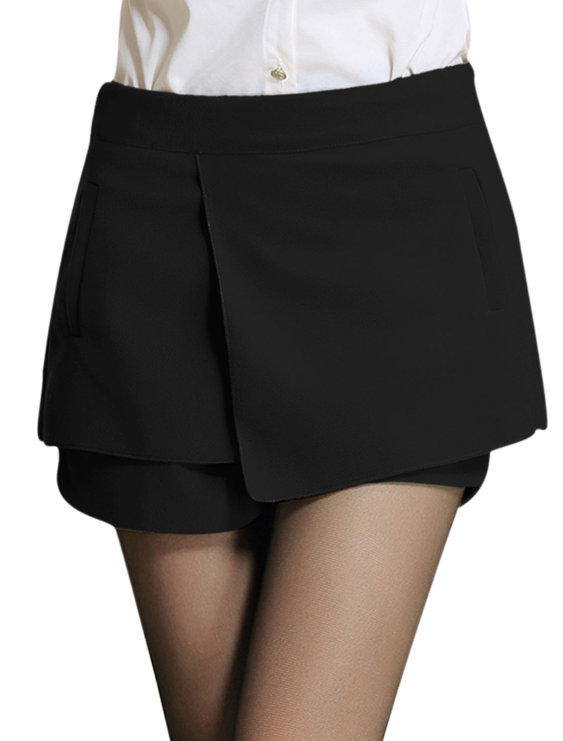 Ladies Black Mid Rise Zip Closure Side Tiered Leisure Skort L