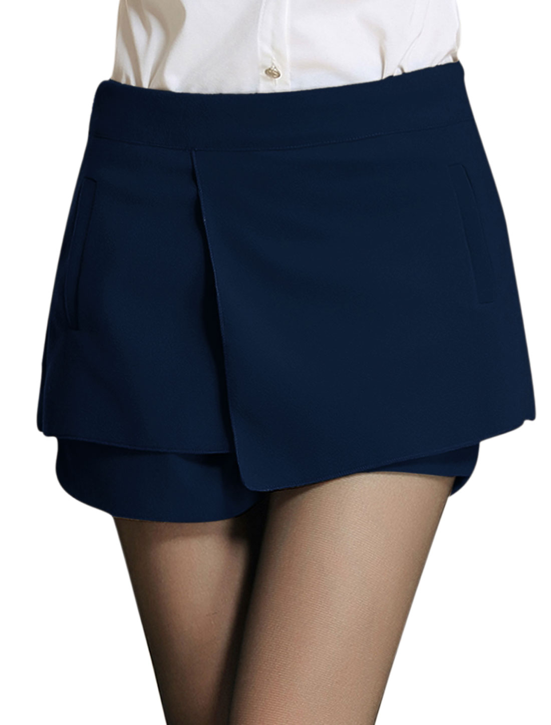Ladies Navy Blue Mid Rise Zippered Side Tiered Casual Skort L