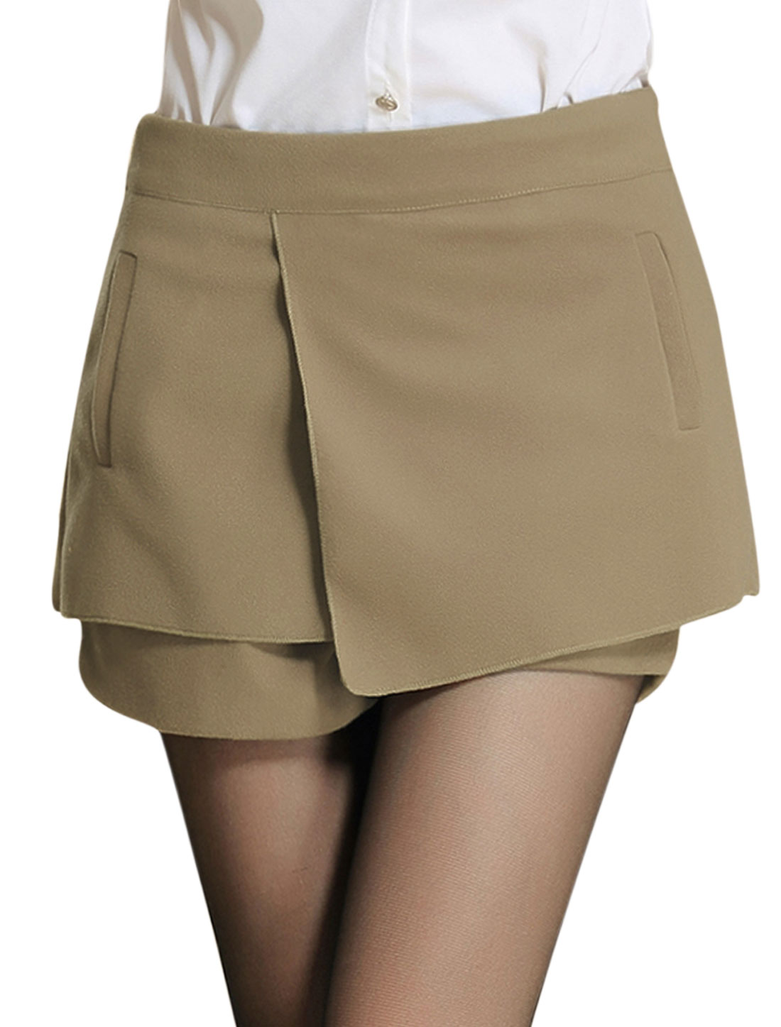 Ladies Khaki Mid Rise Zip Down Side Tiered Leisure Skort L