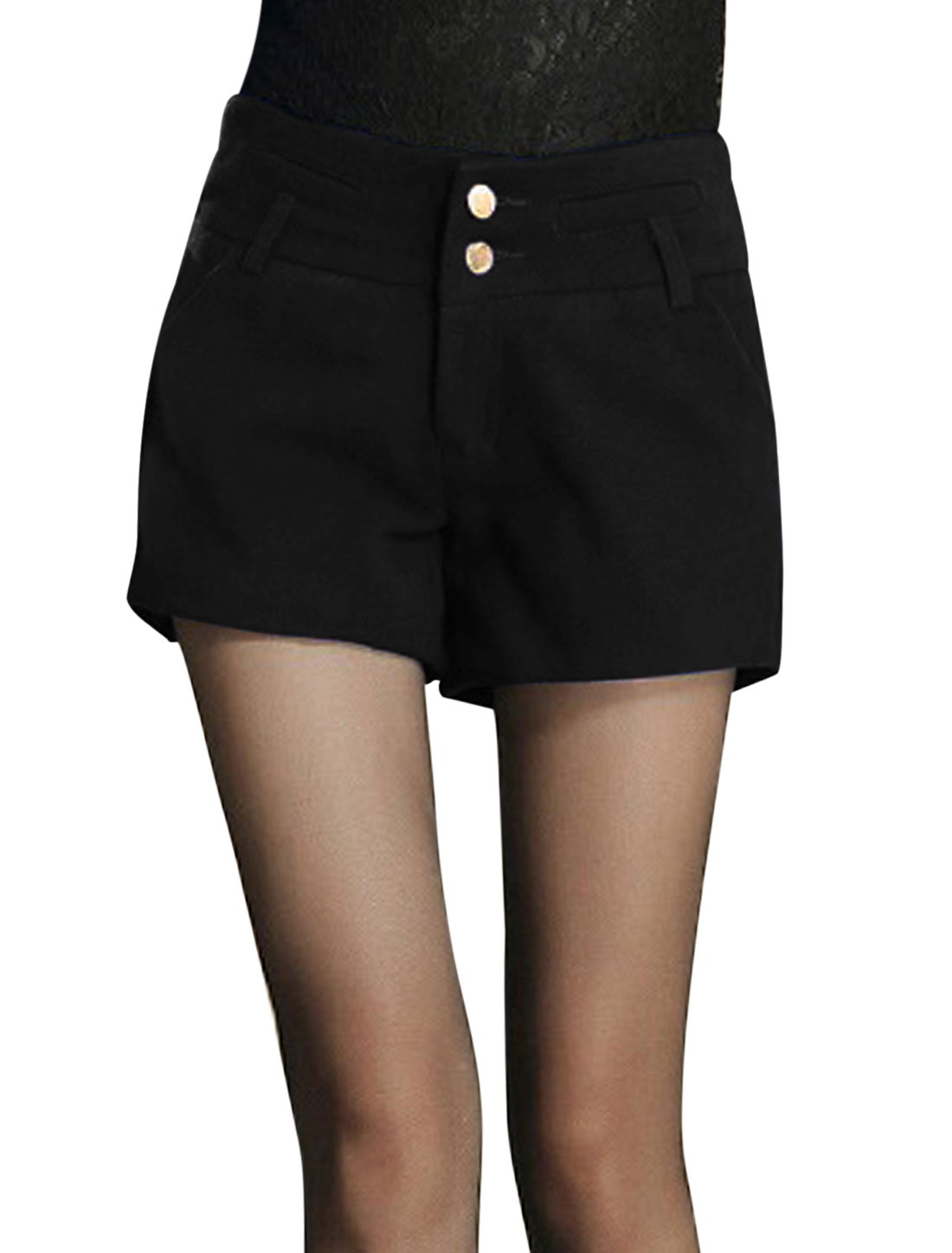 Women Zip Closure Two Buttons Fashion Worsted Shorts Black L