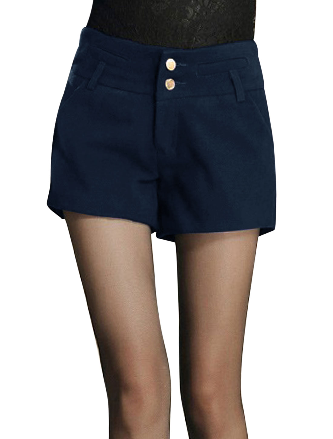 Women Pockets Decor Back Zip Closure Worsted Shorts Navy Blue L