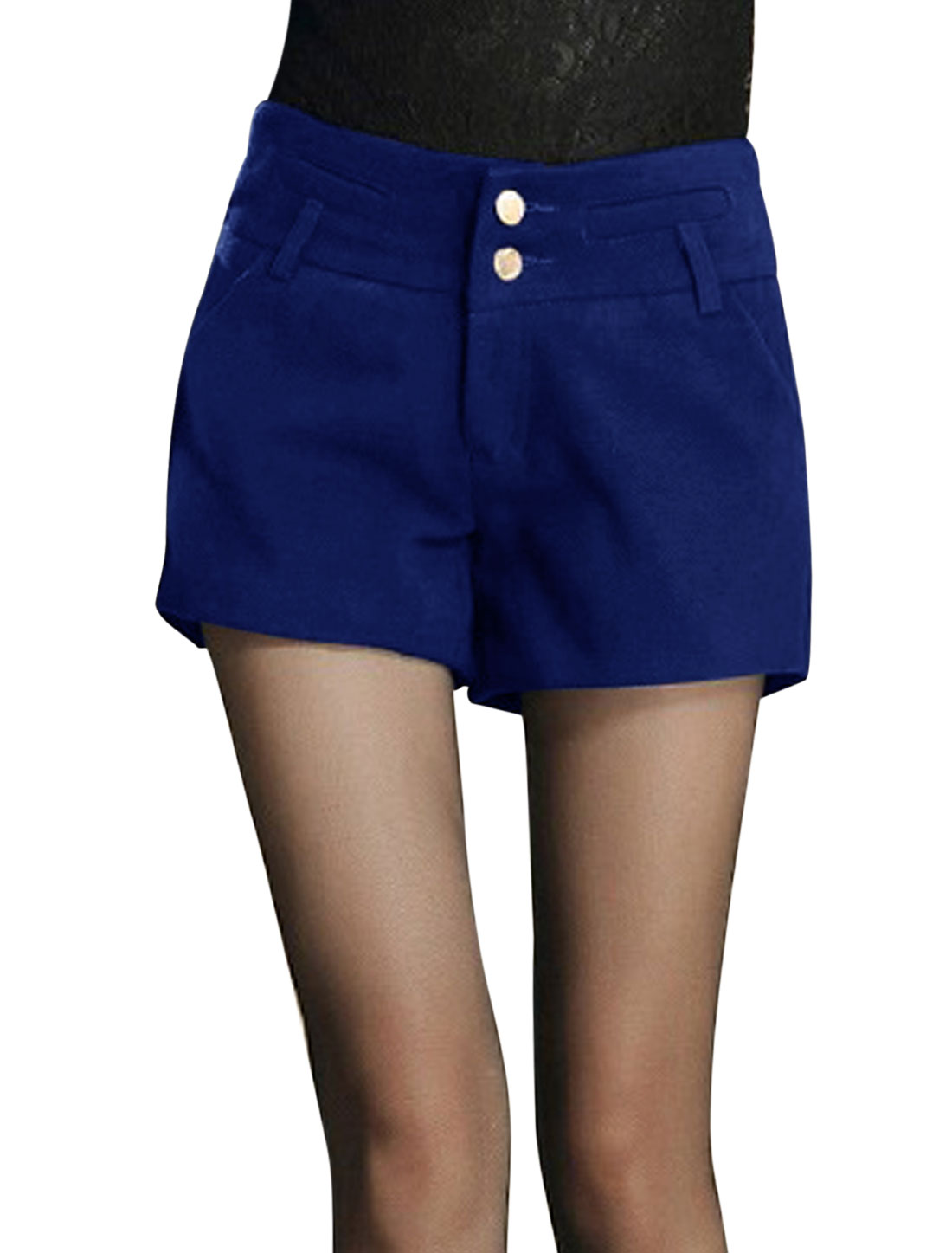 Women Natural Waist Zip Closure Stylish Worsted Shorts Royal Blue L