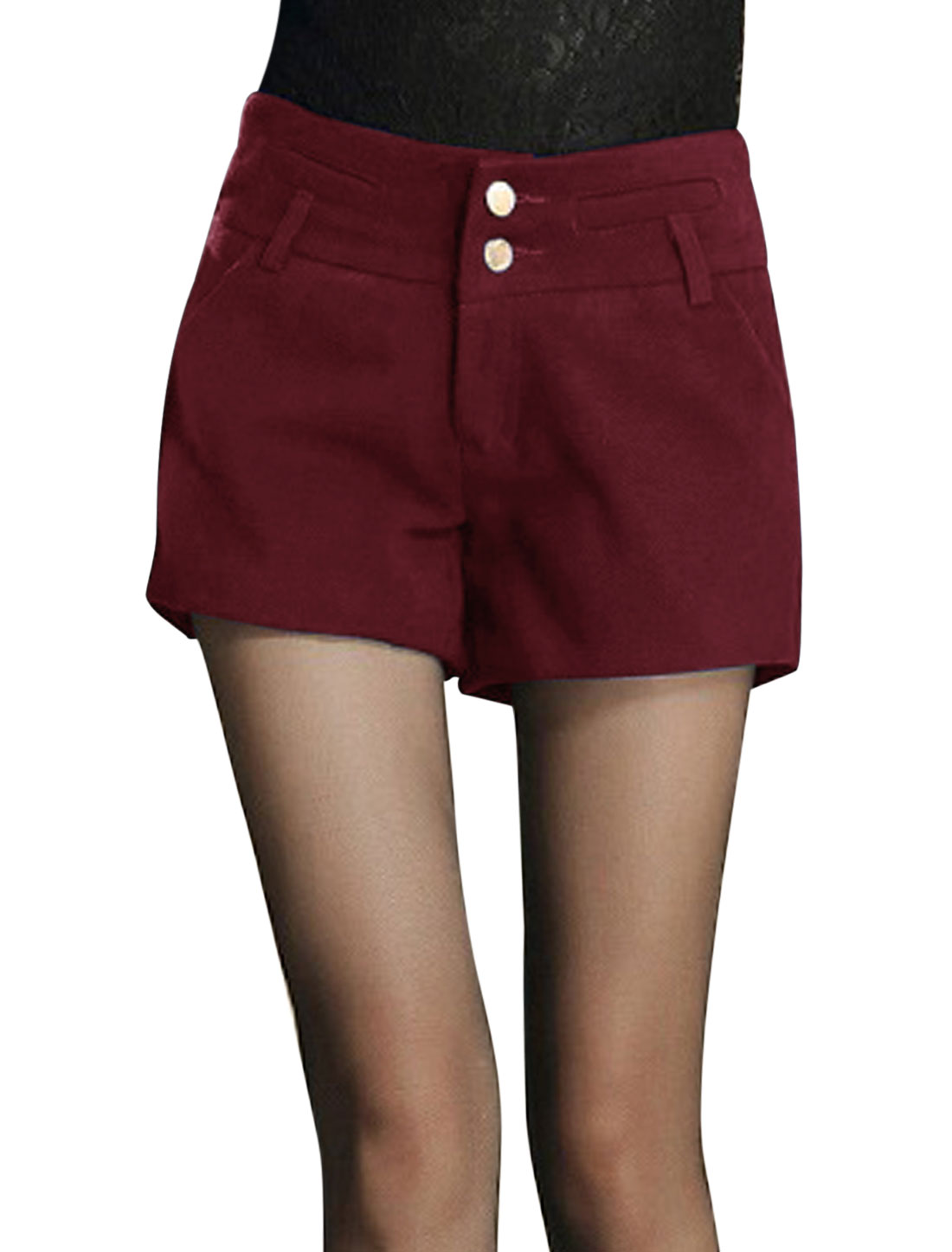 Women Two Pockets Front Zip Closure Worsted Shorts Burgundy M