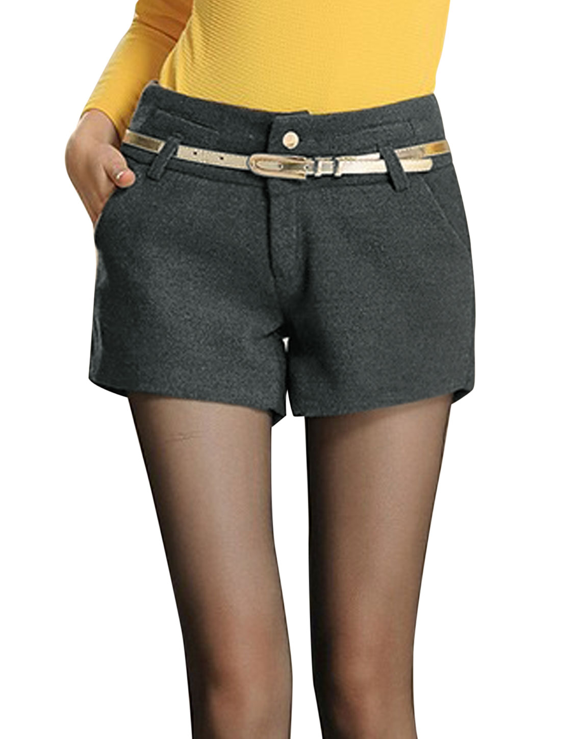 Women Zip Closure Single Breasted Casual Worsted Shorts Ebony L