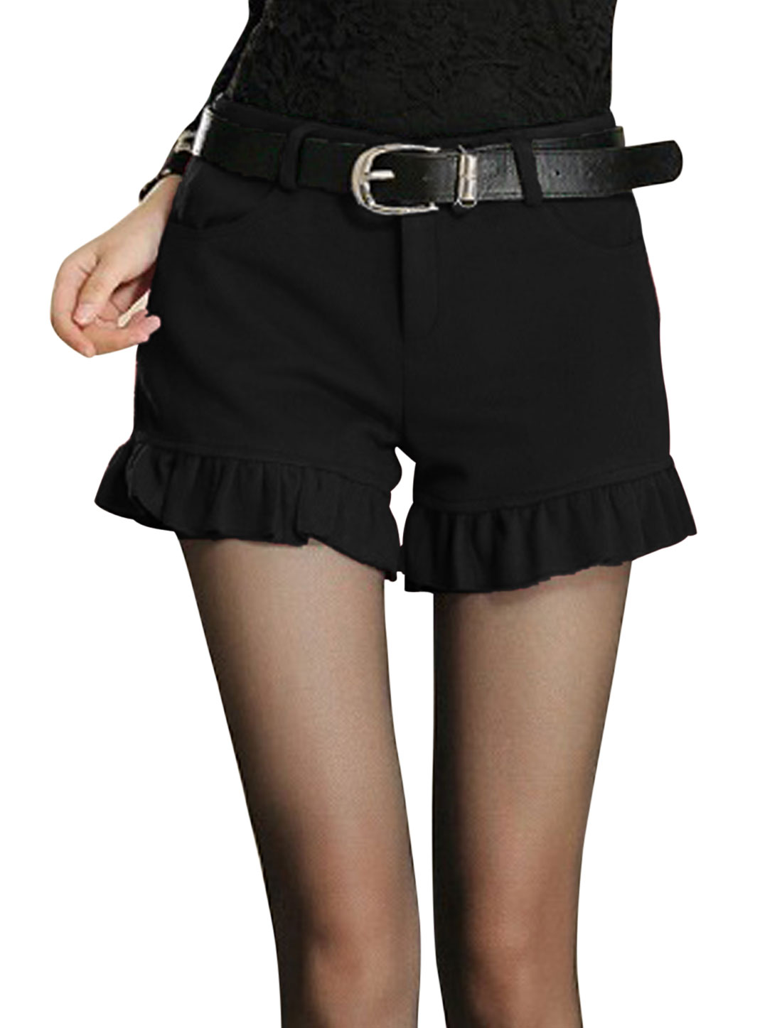 Women Natural Waist Zip Closure Stylish Worsted Shorts Black M
