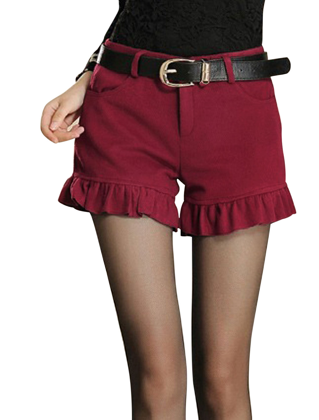Women Ruffled Hem Natural Waiste Leisure Worsted Shorts Burgundy M