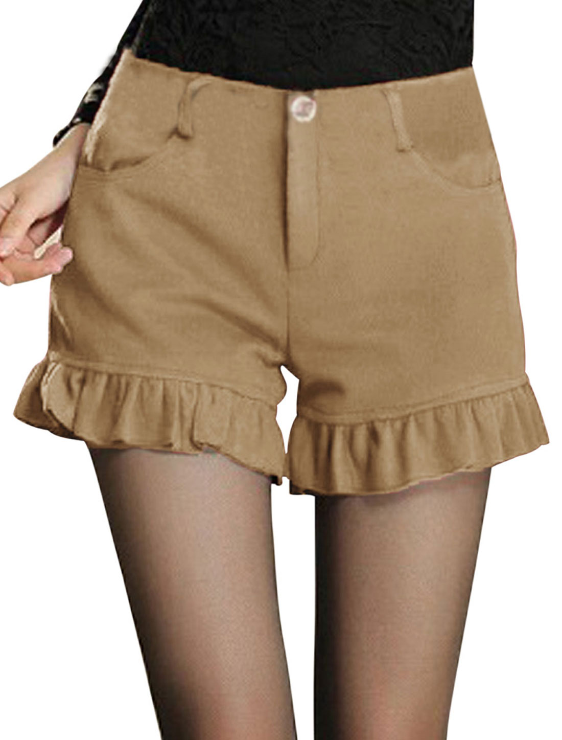 Women Narural Waist Zip Closure Casual Worsted Shorts Khaki M