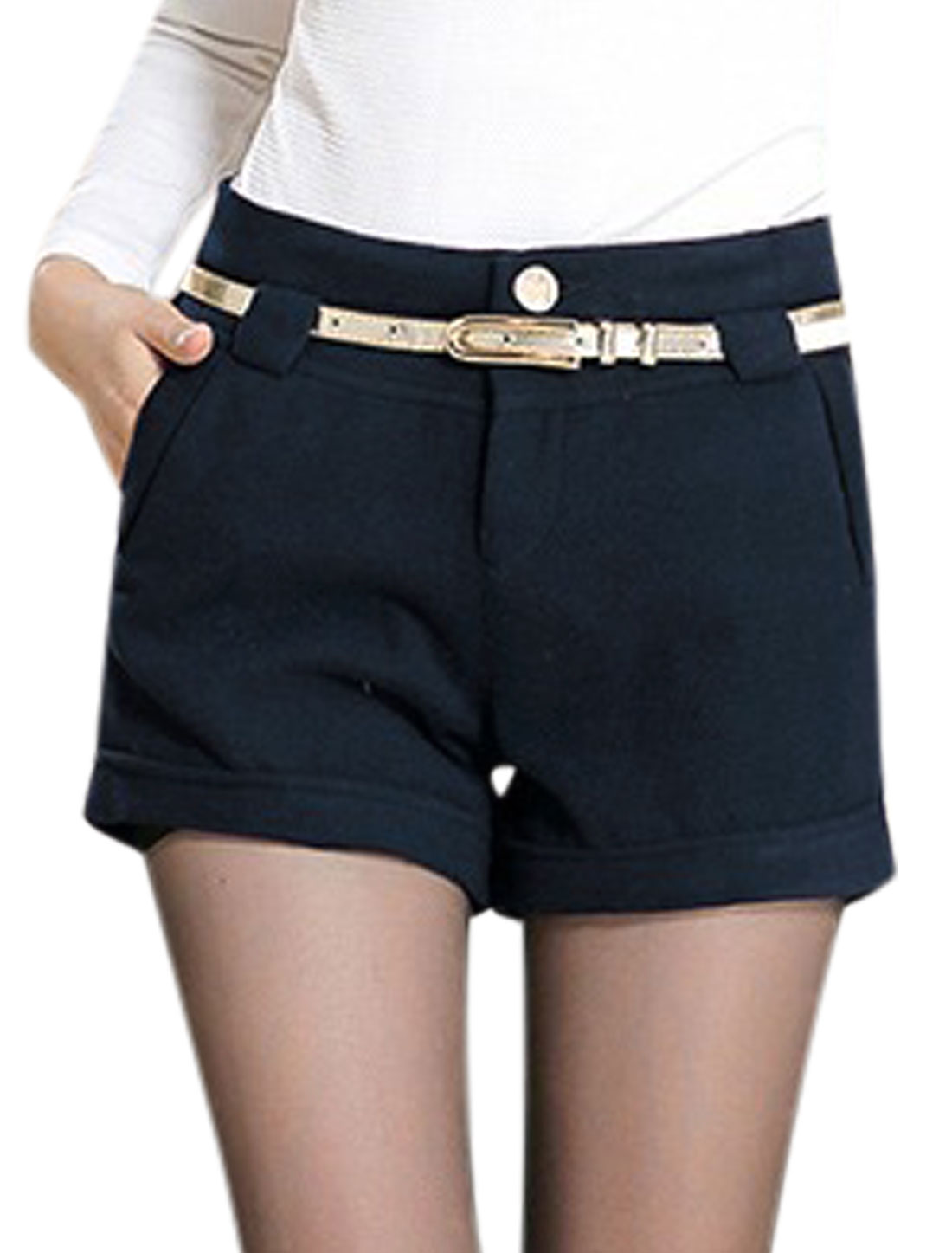 Lady Zipper Belt Loop Fashonable Casual Shorts Navy Blue M