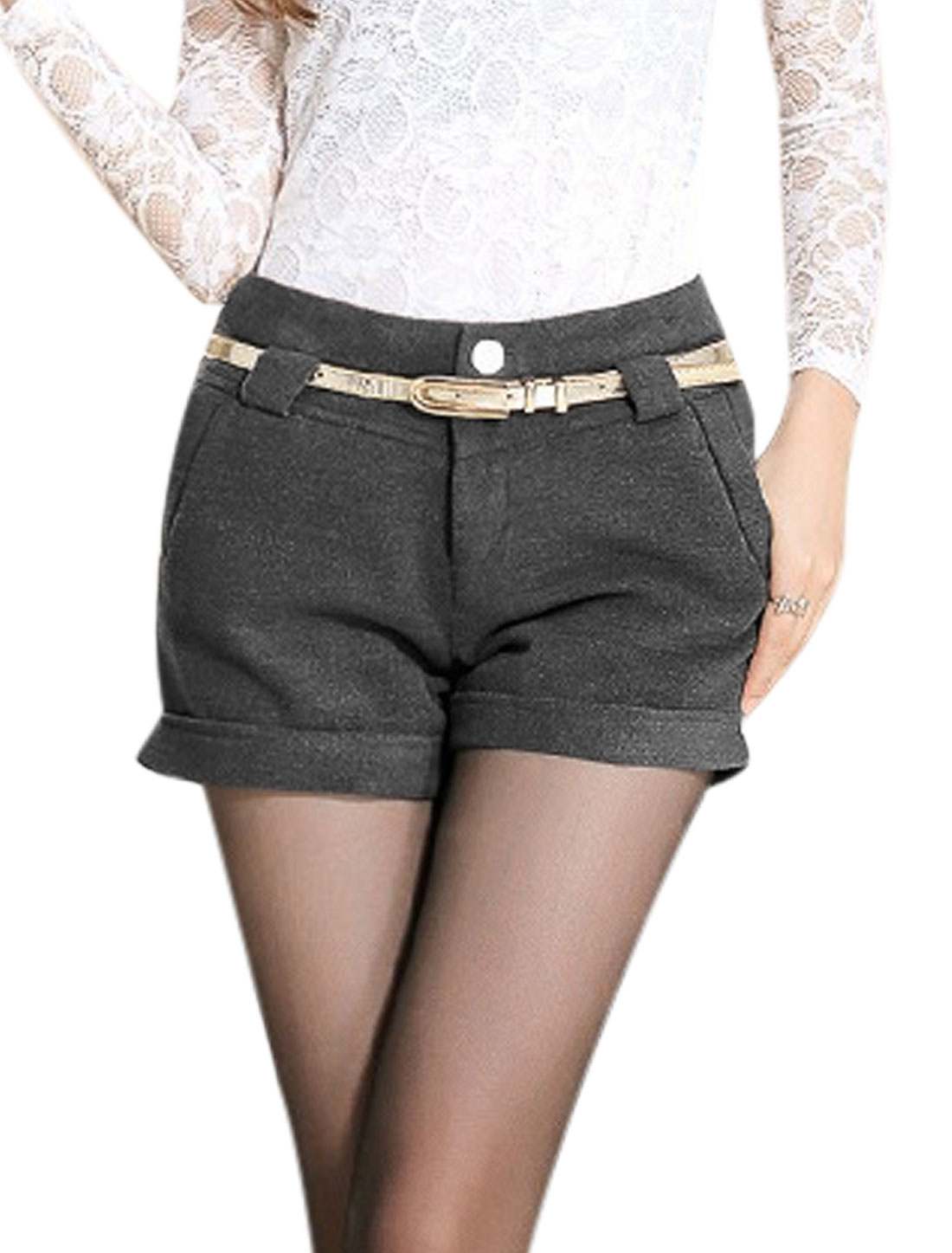 New Style Casual Mid Rise Belt Loop Shorts for Lady Dark Gray M