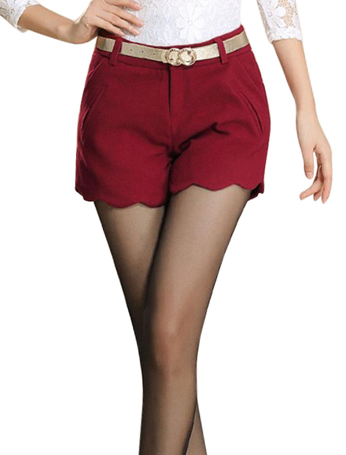 Women Button Closure Zip Fly Fake Pockets Leisure Shorts Burgundy M