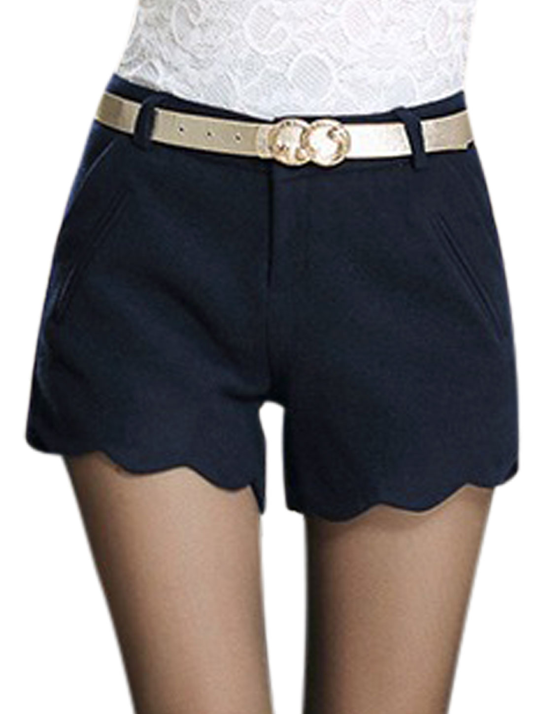 Lady Fashion Style Belt Loop Zip Fly Casual Shorts Navy Blue M