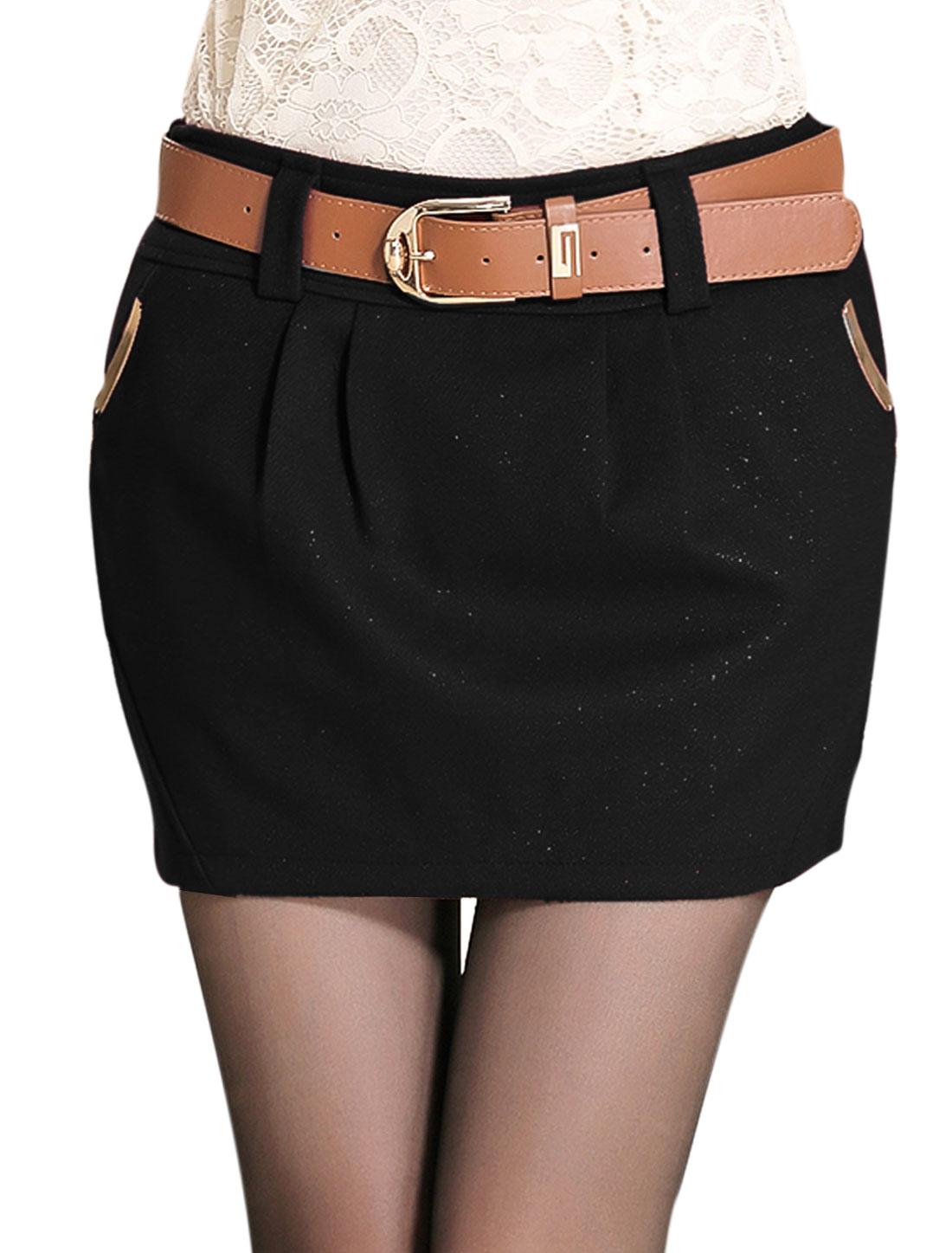 Ladies Black Mid Rise Hidden Zip Fly Side Belt Loop Casual Skirt L