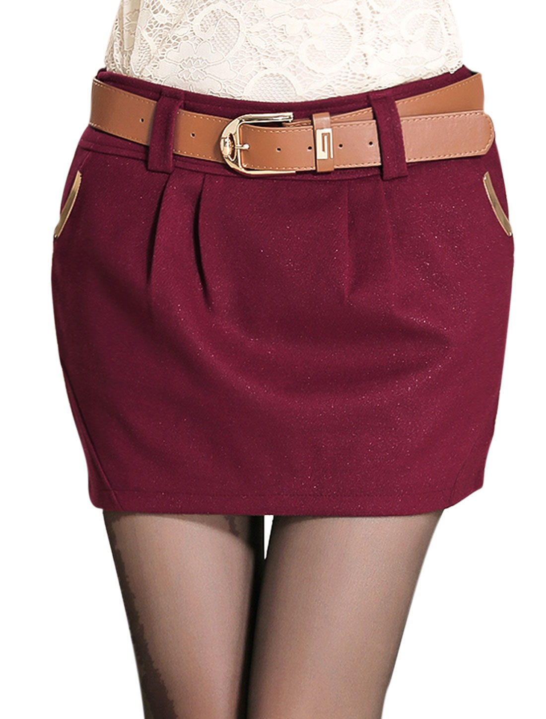 Ladies Burgundy Mid Rise Hidden Zip Closure Side Belt Loop Leisure Skirt L