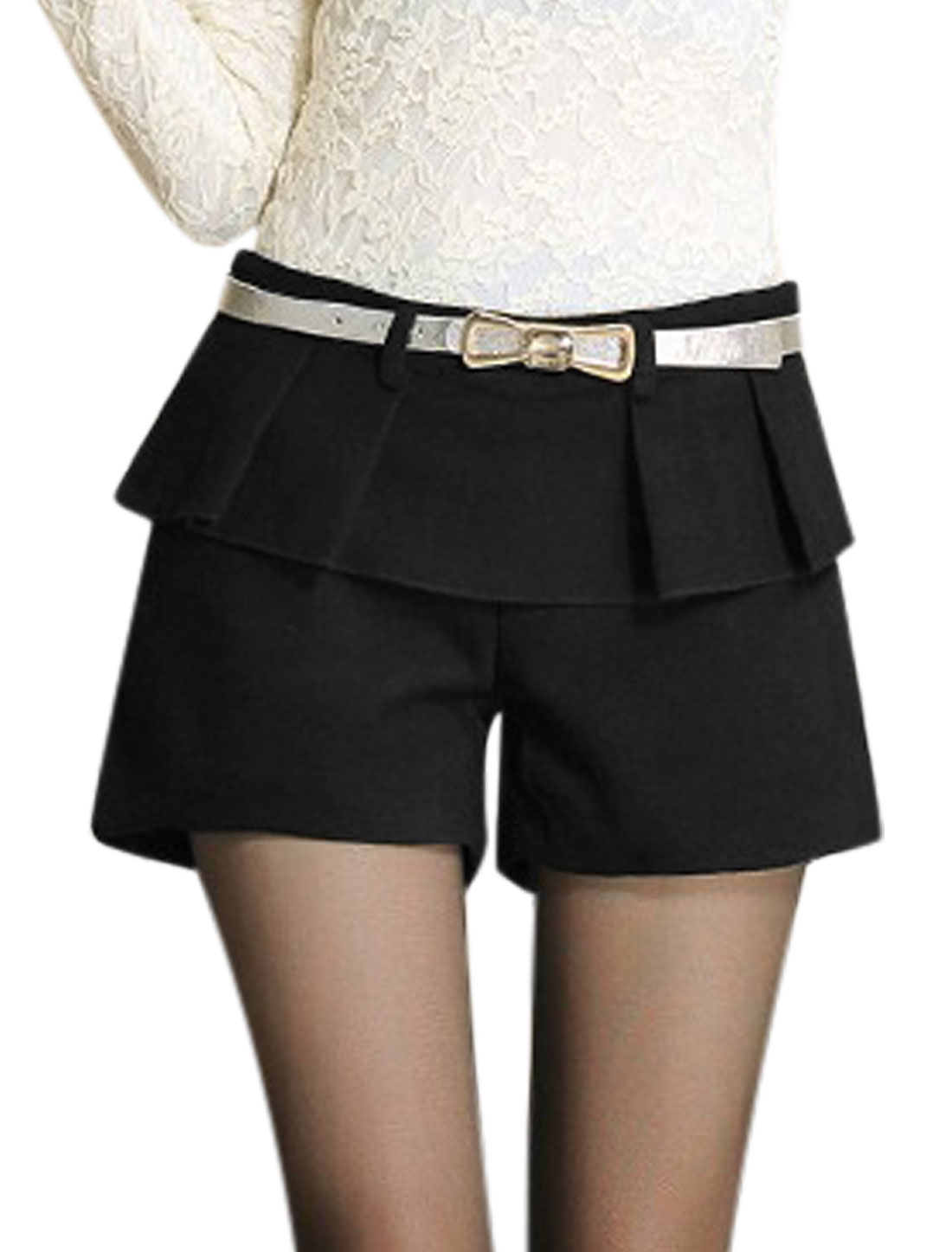 Women Natural Waist Ruffled Detail Fashion Worsted Shorts Black M