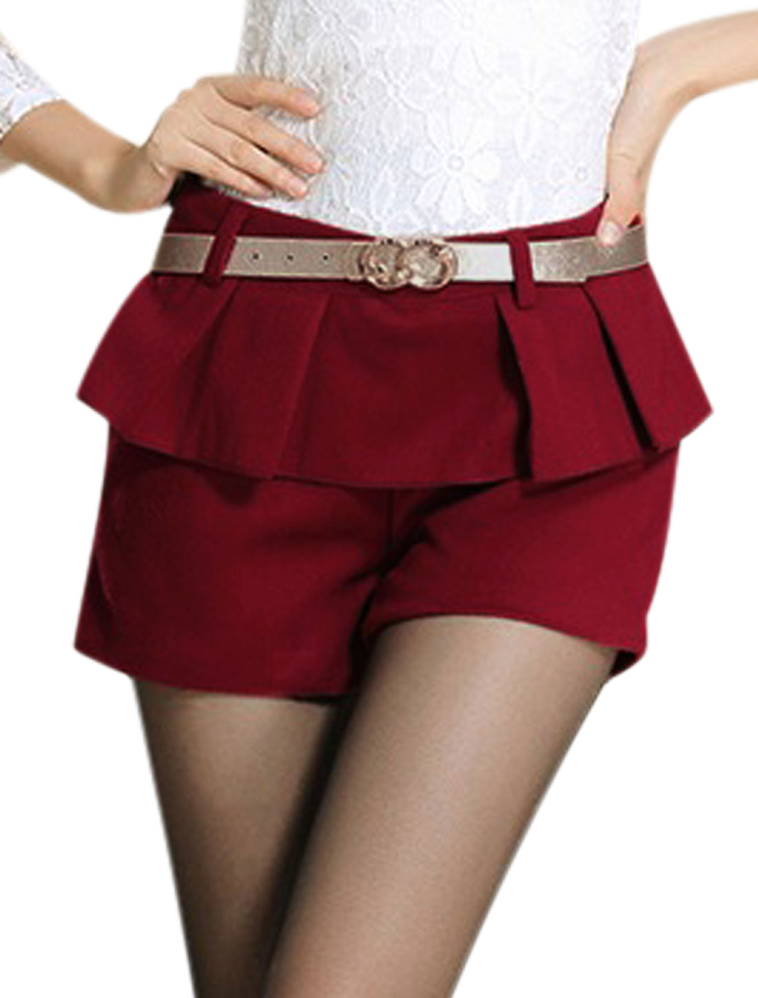 Women Mid Rise Zip Fly Fashion Worsted Shorts Burgundy M