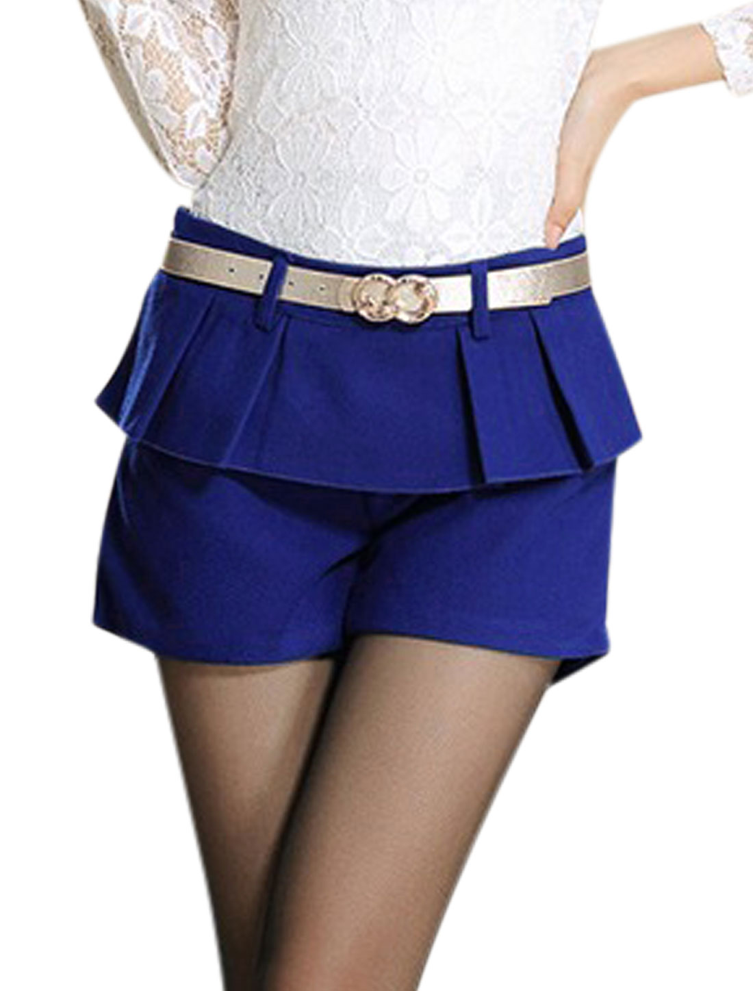 Women Zipper Side Ruffled Detail Leisure Worsted Shorts Royal Blue M