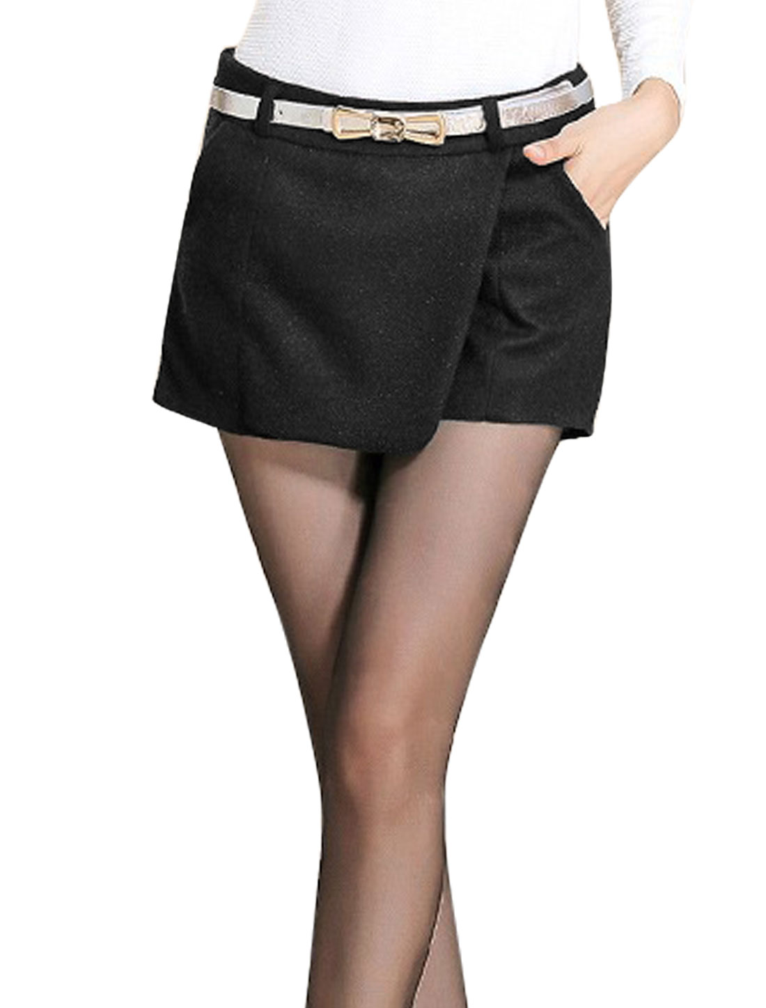 Women Belt Loop Hidden Zipper Side Double Slant Pockets Skorts Black M