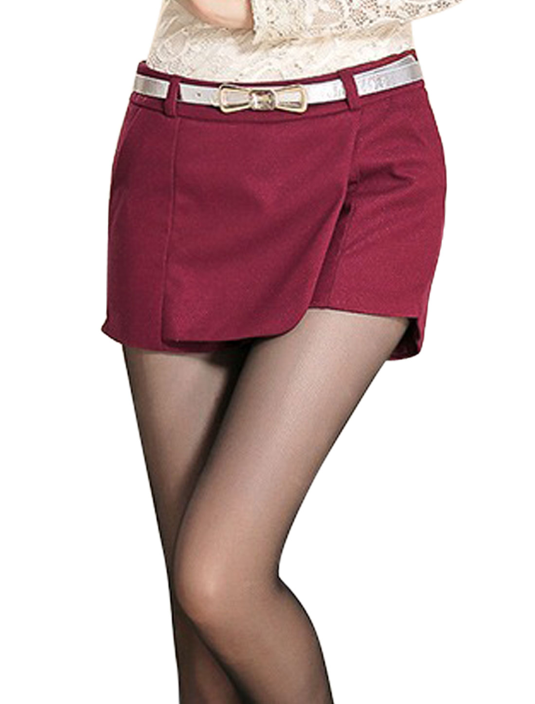 Women Fashion Style Hidden Zipper Side Leisure Shorts Burgundy M